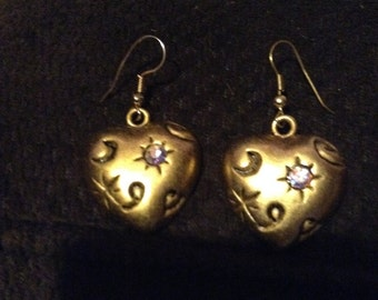 costume gold heart earrings