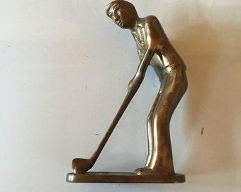 """Vintage bronze sculptured golfer figurine """"In the Rough"""" Lot #26"""