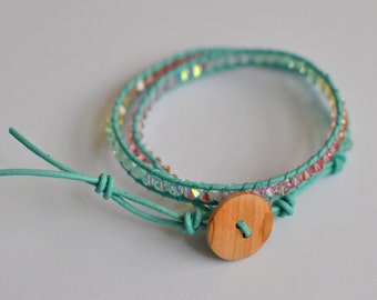 Chan Luu clear blue wrap bracelet with swarovski crystals