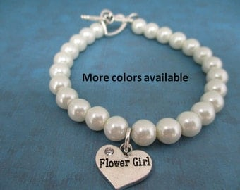 Flower Girl Pearl & Charm Bracelet-flower girl gift-flower girl jewelry-flower girl-bridal shower gift-wedding shower jewelry-weddings, B352