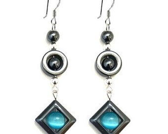Cateye Turquoise & Hematite Long Dangle Earrings