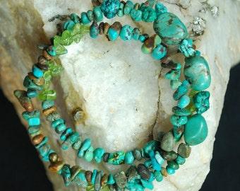 Boho bracelet with turquoise and  peridot green stones