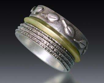 18kt/Sterling Silver Leaf and Channel Ring Set