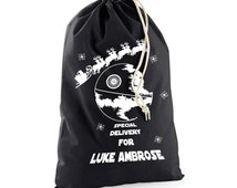 Personalised Star Wars Santa Sack With festive Deathstar & Name of Your Choice, Custom Darth Vader, Large 22 x 30 inch, GG1048