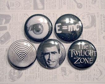 "TWILIGHT ZONE 1"" pinback button set (1960s, Rod Serling, TV Show)"