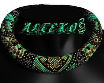 "Bead crochet pattern PDF JBB tutorial Crochet rope scheme DIY necklace Jewelry making ""East patchwork"""