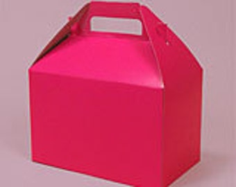12 Hot Pink Colored Gable Gift Boxes - Large Size (8 x 4 7\8 x 5 1\4)
