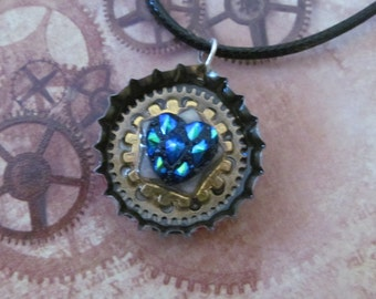 Blue dragon heart steampunk pendant