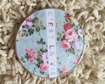handmade floral 'c'est la vie' tumblr badge pin