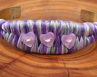 Lilac and Green Heart Bracelet