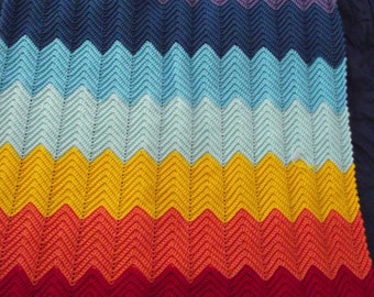 Rainbow Ripple crocheted blanket
