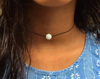 White Glass Pearl Choker Neklace
