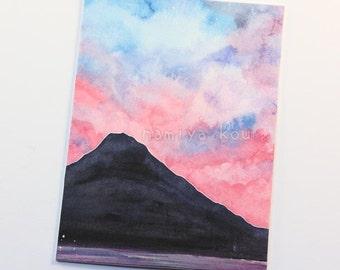 Original ACEO Card, Beautiful Sunset, Mt Fuji Art, Natural Scenery, Colorful Clouds, Watercolor Artwork, Mountain Scenery OOAK Aquarelle ATC