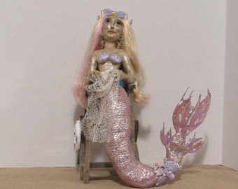 """OOAK Art Doll, Polymer Clay Doll, 14"""" Handmade Mermaid Sculpture, """"Molly the Mer-Guard"""" By Sherry Harrison  **Free Shipping"""