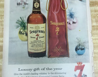 Seagram's 7 (Seven) Christmas Vintage Ad 1957