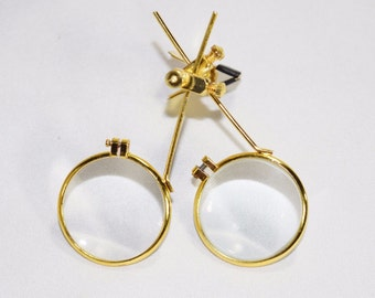 Gold Jewelers Double Clip on Eye Loupe Glasses | 5x & 10x Magnifying Power Lens