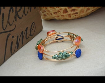 Florida Gator Orange and Blue Bangles set of 3