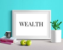 Wealth Affirmation Inspirational Motivational Printable Wall Art