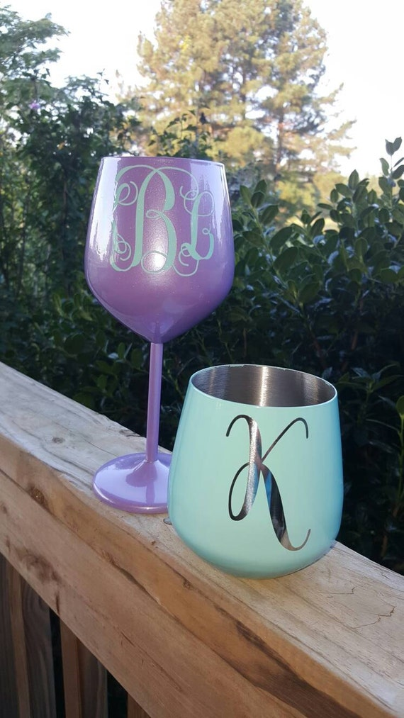 Personalized Powder Coated Wine Glass Stem By