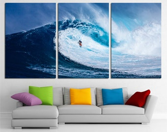 Large Surfing Wall Art Print Surfing Wall Decor Surfing Poster Surfing Print Water Sport Wall Art Waves Wall Art Surfing Canvas Art