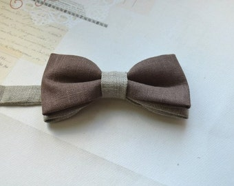 Butterfly-tie made from natural flax (any color)