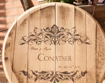 Custom Personalized Wood Burned Whiskey Barrel Top