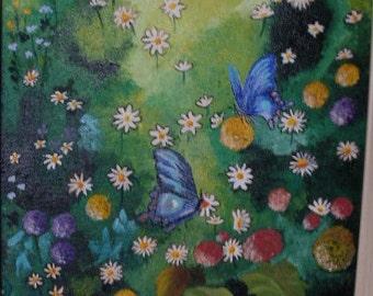 Flower next to butterflies.