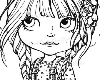 INSTANT DOWNLOAD, Digi stamp, Children's stamps, Coloring Pages, Big Eyes, Stamping printable, Doll stamp, Blythe Doll K-04