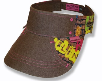 Hothead Womens Mens Wide Brim Custom Sun Visor Hat in Graffiti and Brown Denim