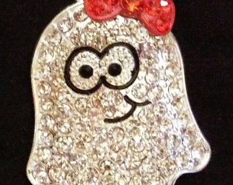 Adorable crystal encrusted ghost pendant jewelry