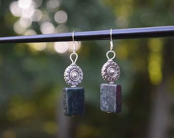 Stone and bead earrings