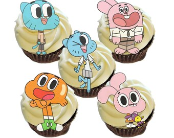 Gumball Birthday Cupcake Edible Images Toppers- *12 count of characters per wafer sheet*