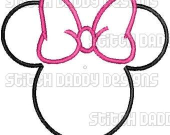 Minnie Mouse Head Applique Design