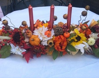 40 Inch Long Thanksgiving Fall Harvest Faux Floral Table Candelabra Centerpiece