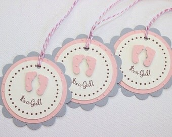 Favor Tag/Favour Tag/Gift Tag. It's A Girl. Baby Pink. Pack of Twelve. Baby Shower.