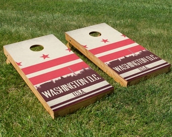 Washington D.C. State Flag Skyline Cornhole Board Set
