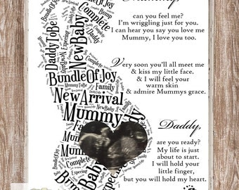 Pregnancy Word Art & Scan Picture A3