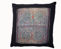 Handmade Dark Indigo Hmong Pillow With Detailed Stitching