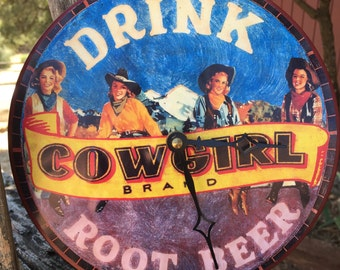 Cowgirl Brand Rootbeer Clock