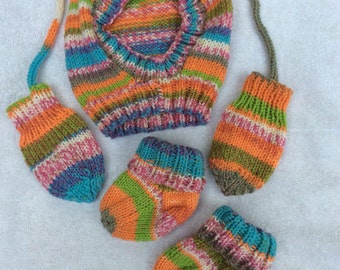 Hat set with balaclava, thumbless mittens on a string and matching socks