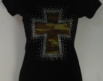 Army Cross Rhinestone Fitted Tee