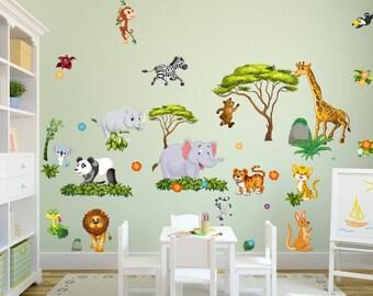 060 wall decals jungle animals lion elephant savanna tree Panda Rhinoceros Tiger Kangaruh * nikima * in 6 verse. Sizes