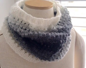 Hand Knit Lacy Eyelet Cowl - Ready to Ship