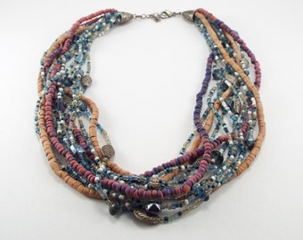 Hand Beaded Multistrand Necklace