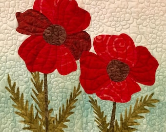 Poppies quilt pattern - ON SALE