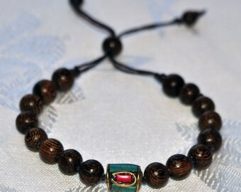 Turquoise & Coral Inlaid Bead Stackable Man Bracelet