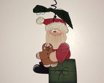 Santa w/ Gingerbread Wooden Christmas Ornament