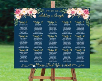 Wedding Seating Chart, Navy Wedding Seating Chart Printable, Wedding Seating Plan, Gold Seating Chart Template, Alphabetically or by Table