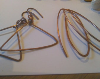 12 Pairs Hammered Copper Hoop Triangle Loop Earrings