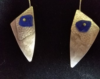 Rare cobalt blue sea glass and sterling silver earrings